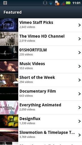 Vimeo for Android screenshot